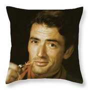 Gregory Peck, Vintage Actor Throw Pillow