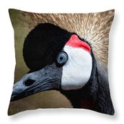Grey - Crowned Crane Throw Pillow