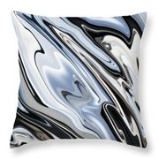Grey And Black Metal Marbling Effect Abstract Throw Pillow