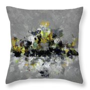 Grey And Yellow Abstract Cityscape Art Throw Pillow