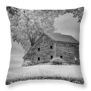 Grey Barn On A Grey Day Throw Pillow