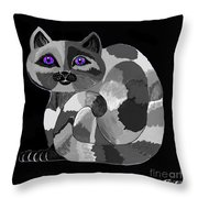 Grey Cat With Purple Eyes Throw Pillow