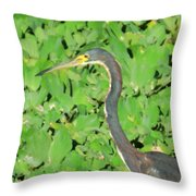 Grey Crane On Green Throw Pillow