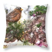 Grey Crown Rosy Finch Throw Pillow