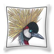 Grey Crowned Crane #52 Throw Pillow