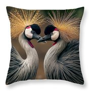 Grey Crowned Cranes Of Africa Throw Pillow