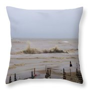 Grey Day At The Beach Throw Pillow