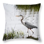 Grey Heron #3 Throw Pillow