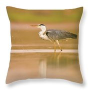 Grey Heron Ardea Cinerea Throw Pillow