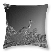 Grey Heron At Morning In Bas Relief Throw Pillow