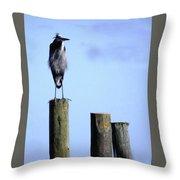 Grey Heron On A Pole Throw Pillow