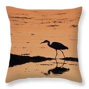 Grey Heron Sunset Throw Pillow