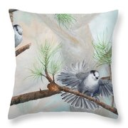 Grey Jays In A Jack Pine Throw Pillow