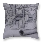 Grey Kangaroos Throw Pillow