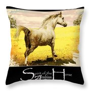 Grey Mare Galloping  Throw Pillow