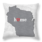 State Map Outline Wisconsin With Heart In Home Throw Pillow