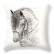 Grey Pony Throw Pillow