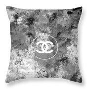 Grey White Black Chanel Logo Print Throw Pillow