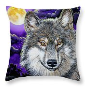 Grey Wolf And Full Moon Throw Pillow