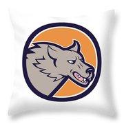 Grey Wolf Head Angry Circle Cartoon Throw Pillow
