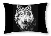 Grey Wolf Throw Pillow by Melodye Whitaker