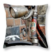 Greyhound Bicycle Throw Pillow by Robert Lacy