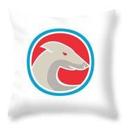 Greyhound Dog Head Side Circle Retro Throw Pillow