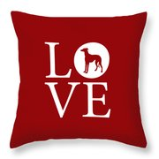 Greyhound Love Red Throw Pillow
