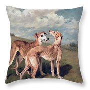 Greyhounds Throw Pillow by John Emms
