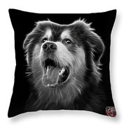 Greyscale Malamute Dog Art - 6536 - Bb Throw Pillow