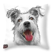 Greyscale Terrier Mix 2989 - Wb Throw Pillow