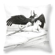Griffin And Lioness Throw Pillow