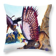 Griffins On Cliff Throw Pillow