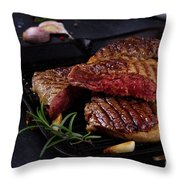 Grilled Beef Steak Throw Pillow