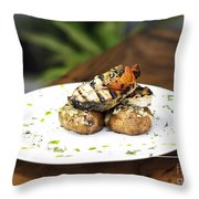 Grilled Fish With Roast Potato Herbs And Garlic Throw Pillow