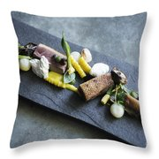 Grilled Pork Sour Cream And Vegetables On Modern Grey Slate Throw Pillow