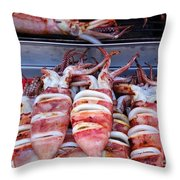 Grilled Squid For Sale Throw Pillow