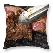 Grilling Steak Throw Pillow