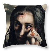 Grim Face Of Horror Crying Tears Of Blood Throw Pillow