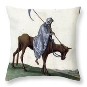 Grim Reaper, 18th Century Throw Pillow