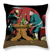 A Grim Visitor Throw Pillow