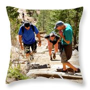 Grinding It Out On The Manitou Incline And Barr Trail Throw Pillow