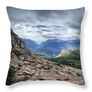 Grinnell Glacier Overlook Panorama - Glacier National Park Throw Pillow
