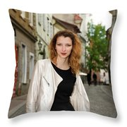Grinning Attractive Woman Standing On Cobblestone Street Of Uppe Throw Pillow