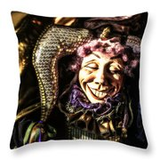 Grinning Mardi Gras Jester Throw Pillow