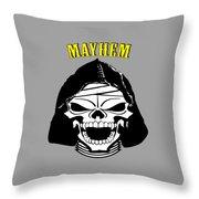 Grinning Mayhem Death Skull Throw Pillow