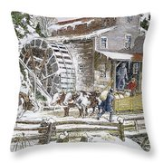 Grist Mill, 19th Century Throw Pillow