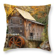 Grist Mill In Autumn Hues Throw Pillow