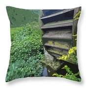 Grist Mill Water Wheel Cape Cod Throw Pillow