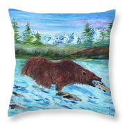 Grizzley Catching Fish In Stream Throw Pillow